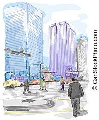 Urban Sketch - An Urban Sketch of People and Buildings