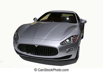 an very luxery silver sportcar