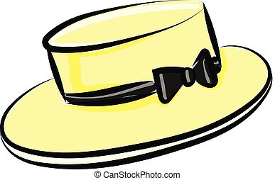 An yellow hat with biw, vector or color illustration