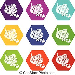 Anaconda snake icons set 9 vector - Anaconda snake icons 9...