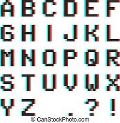 anaglyph, αλφάβητο , εικονοκύτταρο , eff , 3d