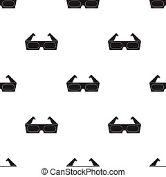 Anaglyph 3D glasses icon in black style isolated on white background. Films and cinema pattern stock vector illustration.
