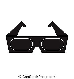 Anaglyph 3D glasses icon in black style isolated on white background. Films and cinema symbol stock vector illustration.