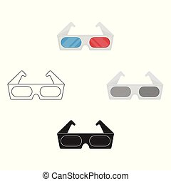 Anaglyph 3D glasses icon in cartoon, black style isolated on white background. Films and cinema symbol stock vector illustration.