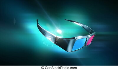 anaglyph, animation., 3d lunettes