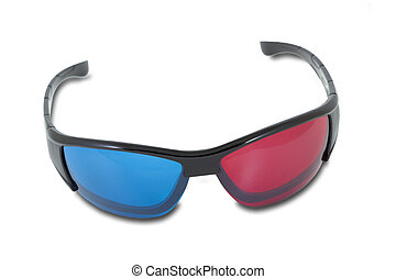 Anaglyph stereoscopic glasses, isolated on white background