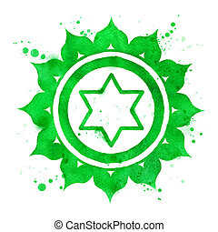 Anahata chakra symbol. - Watercolor illustration of Anahata...