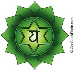 Anahata. Fourth, heart chakra symbol
