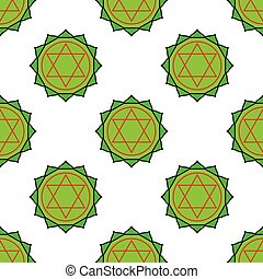 Anahata - heart chakra. The symbol of the fourth chakras. Seamless pattern.