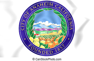 Anaheim (California) Coat of Arms, USA. 3D Illustration.