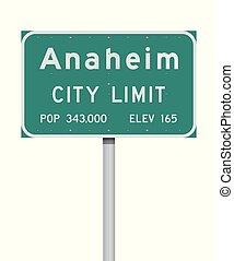 Anaheim City Limit road sign