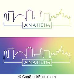 Anaheim skyline. Colorful linear style.
