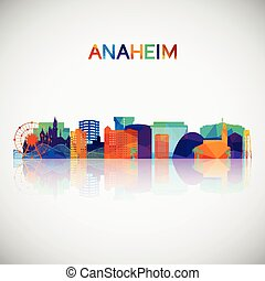 Anaheim skyline silhouette in colorful geometric style.
