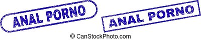 ANAL PORNO Blue Rectangle Stamp with Scratched Texture - ...