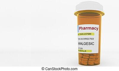 Analgesic pills in a prescription bottle. Conceptual 3D...