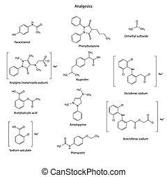 Analgesics drugs chemical set - skeletal structures:...