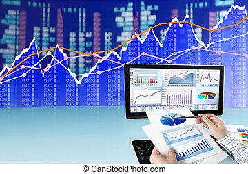 analisando, dados, ligado, computador