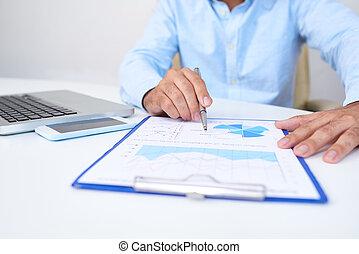 analisando, executivo, diagrama, negócio