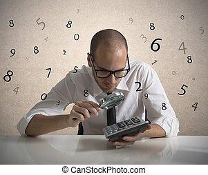 analisar, a, números