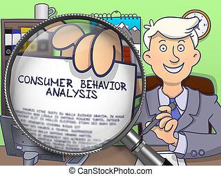 analisi, ingrandendo, attraverso, consumatore, comportamento, vetro.