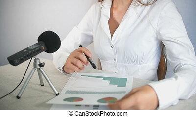 analisi, tabelle, a, riunione affari