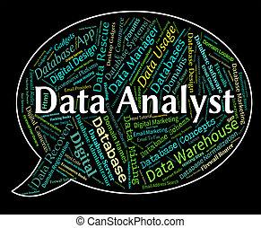 analistas, palabras, analyser, datos, analista, exposiciones