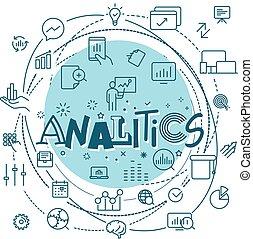 analitics, jogo, esboço, teia, móvel, concept., ícones, app