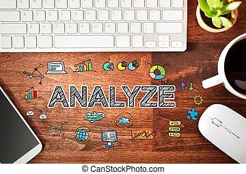 analizar, estación de trabajo, concepto