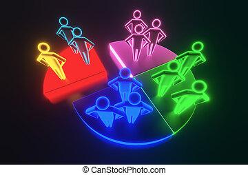 analizar, mercado, interpretación, segment., businesspeople, 3d