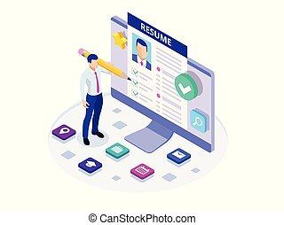 analizar, resumen, resumen, cv, opportunity., reclutamiento, anuncio, trabajo, profesional, personal, buscando, documents., trabajo, papeles, isométrico, hombre, documentos