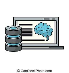 analizing, είδηση , laptop , τεχνητό , εγκέφαλοs ,...