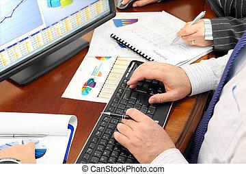 analizing, dados, em, escritório