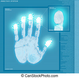 analizować, odcisk palca