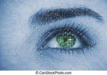 analizując, cir, zatkać się, oko, kobieta
