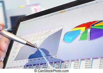 analizując, dane, na, komputer