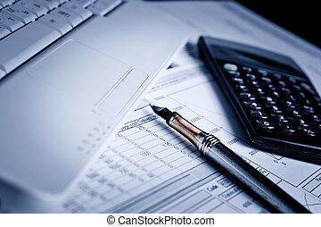 analizując, finansowy, wykresy, i, dokumenty