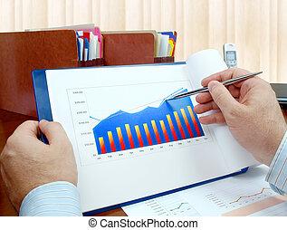 analizując, lokata, charts.