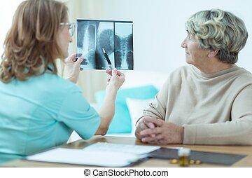 analizując, rentgenowski, doktor