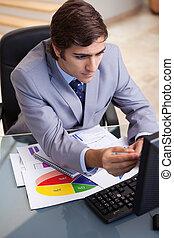 analizując, statystyka, biznesmen