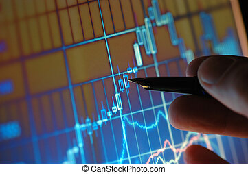 Analizzare, grafico, mercato, casato