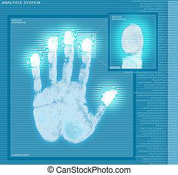 analizzare, impronta digitale