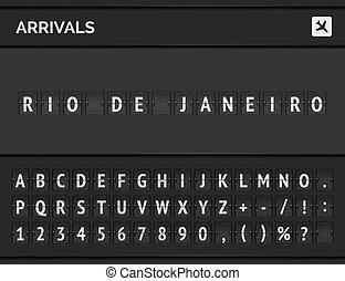 Analog airport flip scoreboard with flight info of arrivals in Rio de Janeiro with airplane board and flight font. Vector illustration
