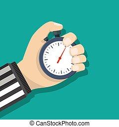 Analog chronometer timer counter in hand