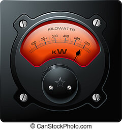 analog, elektrisk meter, röd, vektor