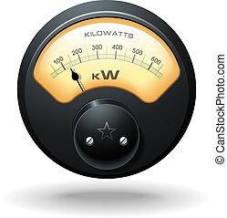 analog, elektrisk meter, vektor
