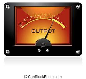 analog, elektronisk, vu, signal, meter