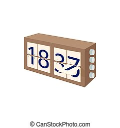 Analog flip clock icon in cartoon style on a white background