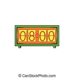 Analog flip clock icon, cartoon style