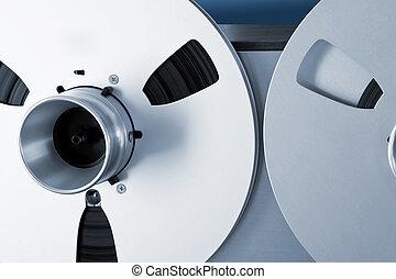Analog Stereo Open Reel Tape Deck Recorder Spool Closeup