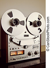 Analog Stereo Open Reel Tape Deck Recorder Vintage Closeup...